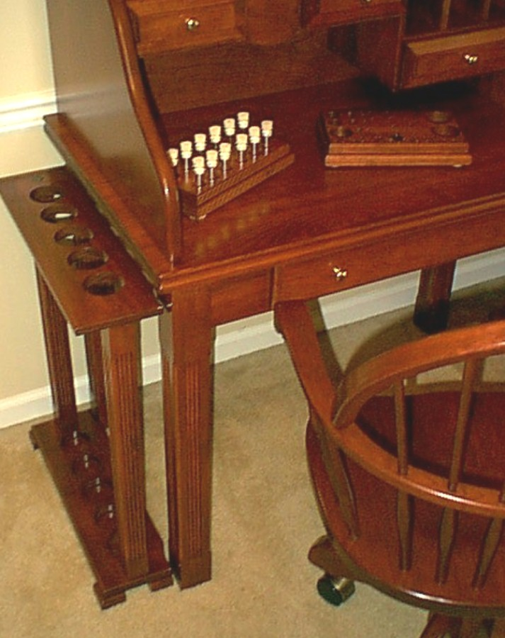 The Pictures Show Lehigh Fly Tying Desk With An Attached 5 Position Rod Stand Can Be To Either Side Of